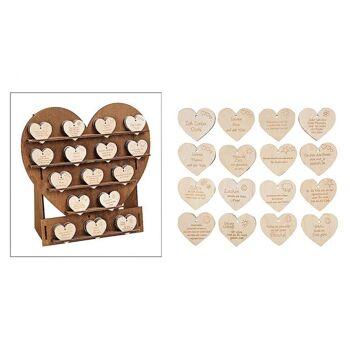 Herzdisplay mit Herzen, aus Holz, 16-fach sortiert, B24 x T10 x H24 cm / B4 x H4 cm