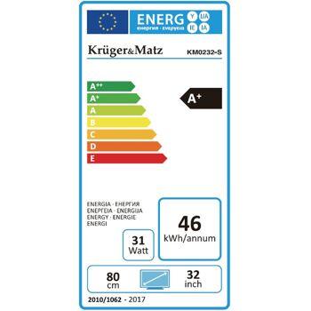 Krüger & Matz KM0232-S 32 Zoll HD WLAN Smart TV Triple Tuner DVB-T2/S/C A+ USB Energieeffizienzklasse A+ Fernseher Bildschrim Monitor