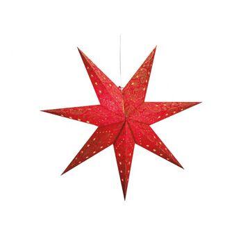 Leuchtstern aus Papier in rot mit 7 Zacken, 100 cm