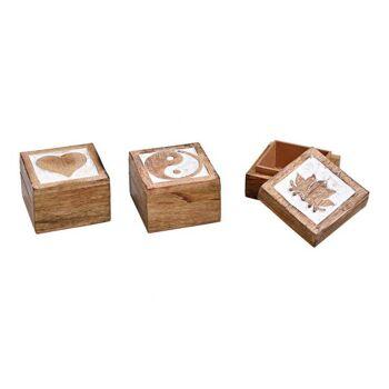 Schmuckdose  aus Mango Holz Braun 3-fach, (B/H/T) 7x5x7cm