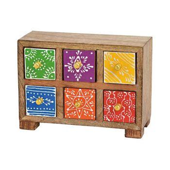 Schränkchen mit 6 Schubladen  aus Mango Holz Bunt (B/H/T) 20x15x8cm