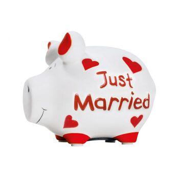 Spardose KCG Kleinschwein, Just Married, aus Keramik, Art. 101445 (B/H/T) 12,5x9x9cm