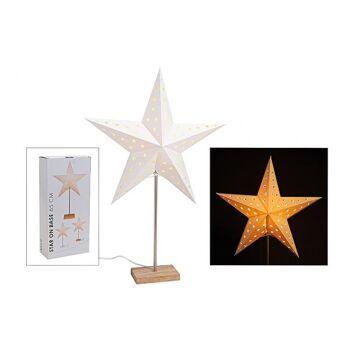 Standleuchte Stern aus Papier/Holz/Metall, B67 x T43 cm
