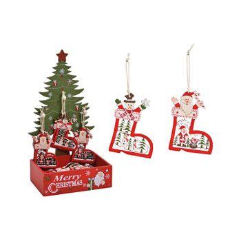Weihnachtshänger Stiefel im Baum Display aus Holz Rot 2-fach, (B/H) 6x9cm,  Baum Display 17x32x13cm
