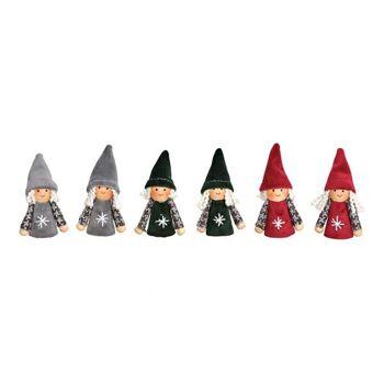 Kind Mädchen und Junge aus Textil, Holz Rot, grün, grau 6-fach, (B/H/T) 2x7x2cm