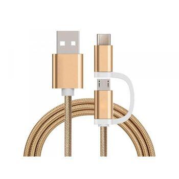 Reekin 2 in 1 Ladekabel (USB Micro & Type-C) - 1,0 Meter (Gold-Nylon)