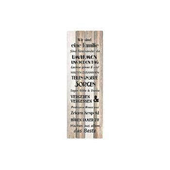 Schild Familienregeln aus Holz Natur (B/H/T) 30x80x1cm