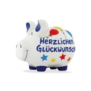Spardose KCG Mittelschwein, Herzlichen Glückwunsch Mittel, aus Keramik, Art. 101578 (B/H/T) 17x15x15 cm