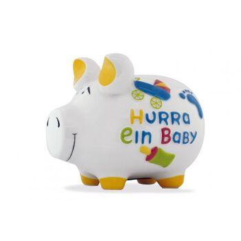 Spardose KCG Mittelschwein, Hurra ein Baby Mittel, aus Keramik, Art. 101580 (B/H/T) 17x15x15 cm