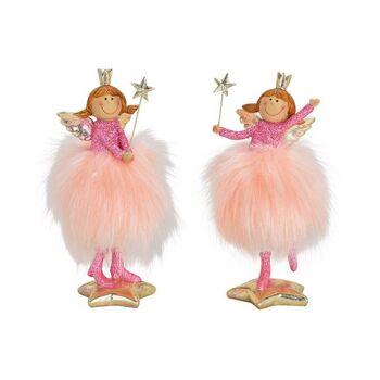Engel mit Glitzer aus Poly/Polyester Pink/Rosa 2-fach, (B/H/T) 9x18x7cm