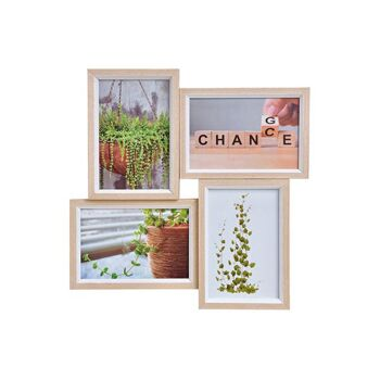 Fotorahmen für 4 Fotos 10x15cm aus Holz, Glas Beige (B/H/T) 31x31x3cm