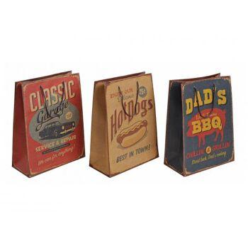 Geschenktüte vintage in braun, 3-fach sortiert, B26 x T12 x H33 cm