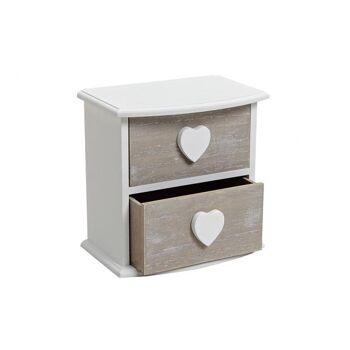 Schränkchen mit 2 Schubladen aus Holz, B20 x T13 x H20 cm