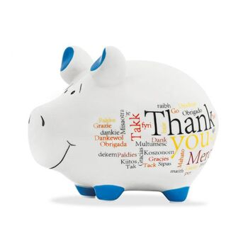 Spardose KCG Kleinschwein, Thank You, International, aus Keramik, Art. 101698 (B/H/T) 12,5x9x9 cm
