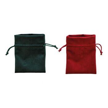 Geschenkbeutel aus Polyester Rot, grün 2-fach, (B/H) 10x12cm
