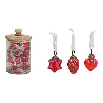 Hänger aus Glas Rot 3-fach, (B/H) 3,5x3,5cm, 48 Stk in Glas mit Holz Deckel 12x20x12cm