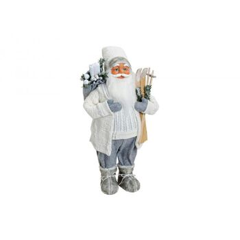 Nikolaus aus Textil/Kunststoff in weiß/grau, 60 cm