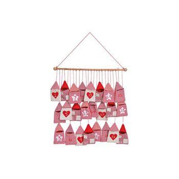 Adventskalender Haus Tasche 9x15cm aus Textil, Holz, Rot (B/H/T) 52x54x2cm