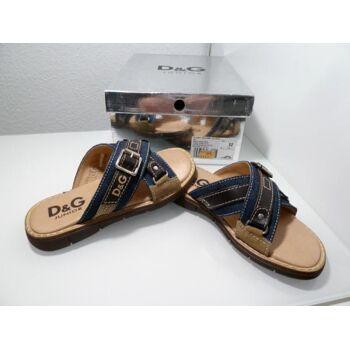 D&G Sandale OLG44 Blau/Braun Leder/Textil G.32