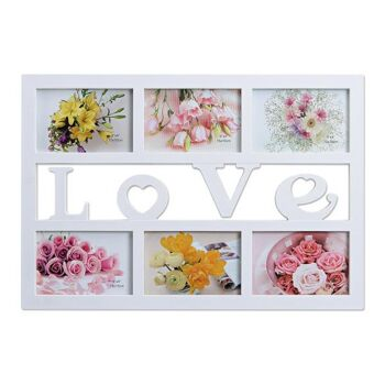 Fotorahmen Love für 6 Fotos aus Kunststoff in weiß, B48 x H33 cm