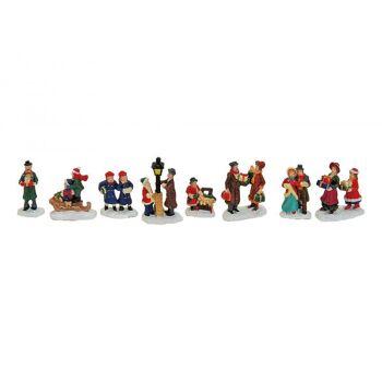 Miniatur-Weihnachtsfiguren aus Poly, Sortieurng II, 8-fach sortiert, 4 cm