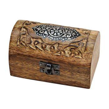 Schmucktruhe Indien aus Holz (B/H/T) 12x7x8cm