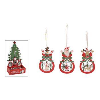 Weihnachtshänger im Baum Display aus Holz Bunt 3-fach, (B/H) 5x9cm