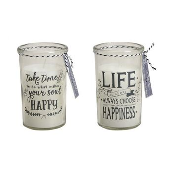 Windlicht aus Glas mit Duftkerze Happy/Happiness