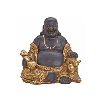 Buddha sitzend in braun/gold aus Poly, B30 x T20 x H29 cm