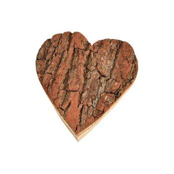 Herz Holz Rinde aus Holz Natur (B/H/T) 15x16x4cm