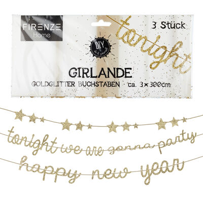 17-61937, Girlande 3in1, gold glitzer, 300cm.tonight we are gonna party, Sterne, happy new year++++++