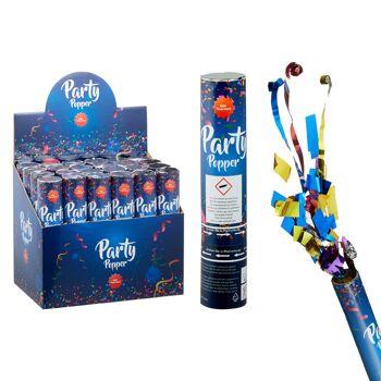 17-73056, Party Popper De Luxe 20 cm, Konfettikanone, Partypopper, Folien-Luftschlangen und Konfetti