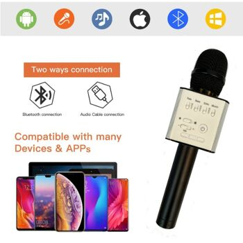 Mikrophon Karaoke Player Mikrofone Mikrophone mit Bluetooth BT Lautsprecher Wireless Weihnachtsgeschenk - schwarz - inkl. Tasche und Kabel