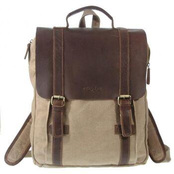 Rucksack Travel Reise Backpack Canvas Echt Leder Damen Herren Vintage