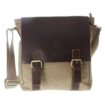 Überschlagtasche Umhängetasche Handtasche Canvas Echt Leder Damen Vintage
