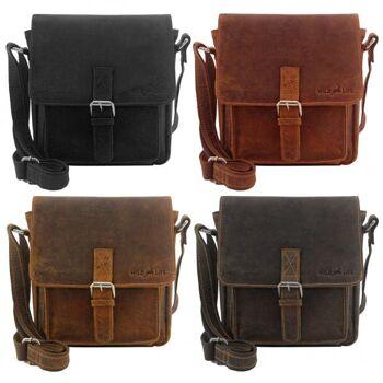 Überschlagtasche Umhängetasche Handtasche Echt Leder Damen Vintage 4 Farben