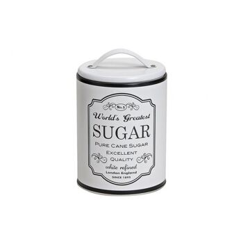 Dose Sugar weiss Metall 16x10cm