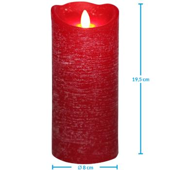 Grosse Palettenaktion - jetzt wird aufgeräumt - LED Echtwachskerze 19,5cm rot - 560 Stück