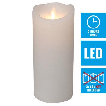 LED Echtwachskerze 19,5cm weiß