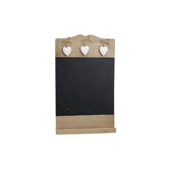 Memotafel aus Holz zum Hängen, mit 3 Herzen, B24 x H38 cm