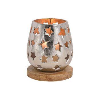Windlicht Sterndekor aus Alu auf Mangoholzsockel Silber (B/H/T) 15x18x15cm
