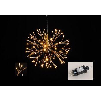 Lichterzweige Kugel 96er LED aus Kunststoff Gold  Ø40cm, für Innen, mit Timer
