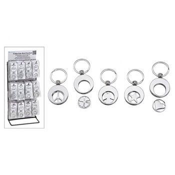 Schlüsselanhänger mit Einkaufswagenchip Symbol aus Metall Silber 5-fach, (B/H) 3x3cm, 60 Stk. auf Display