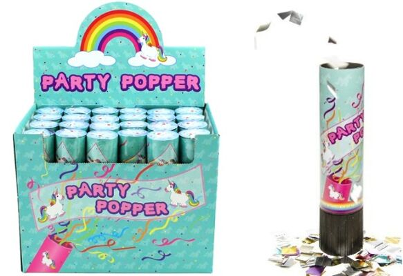 27-83362, Party Popper Einhorn, Konfettishooter, Konfettikanone