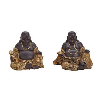 Buddha sitzend, in braun/gold aus Poly, 2-fach sortiert, B24 x T15 x H20 cm