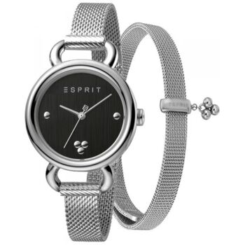 Esprit Uhr Uhren Damenuhr + Armband ES1L023M0045 Play Black Silver Mesh