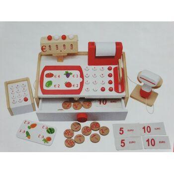 Kinderkasse aus Holz für Kaufmannsladen Weihnachtsgeschenk Lagerware sofort verfügbar