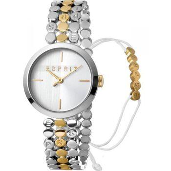 Esprit Uhr Uhren Damenuhr + Armband ES1L018M0065 Bliss Two Tone Gold Silver