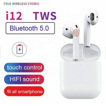 i12-Bluetooth-Kopfhoerer-TWS-5-0-Wireless-Kabellos-Ohrhoerer-In-Ear-Headset-Siri Stereo Sound Sport für alle Geräte Android und IOS