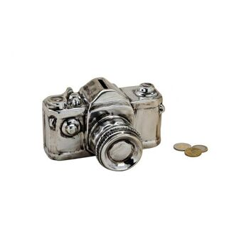 Spardose Kamera in silber aus Keramik, B16 x T12 x H10 cm